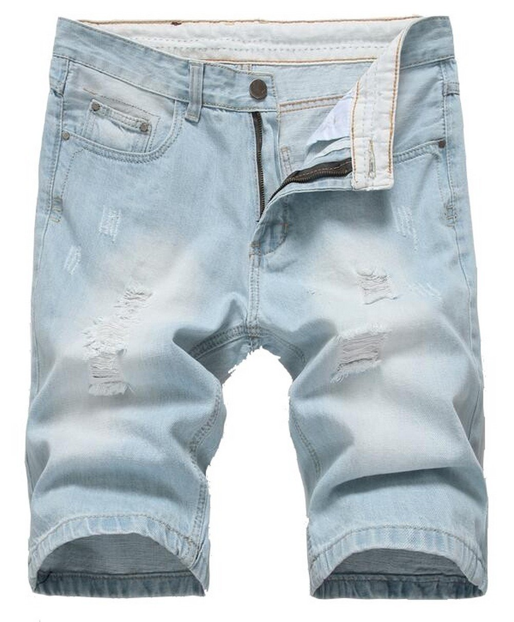 Jinmen Mens Regular Fit Ripped Distressed Straight Denim Short with Hole