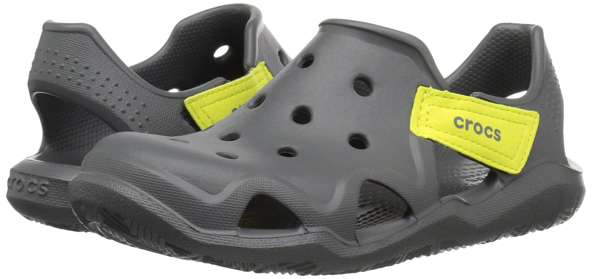 Crocs Unisex-Kids Swiftwater Wave Flat Sandal, Slate Grey/Tennis Ball Green, 13 M US Little Kid by Crocs (Image #6)