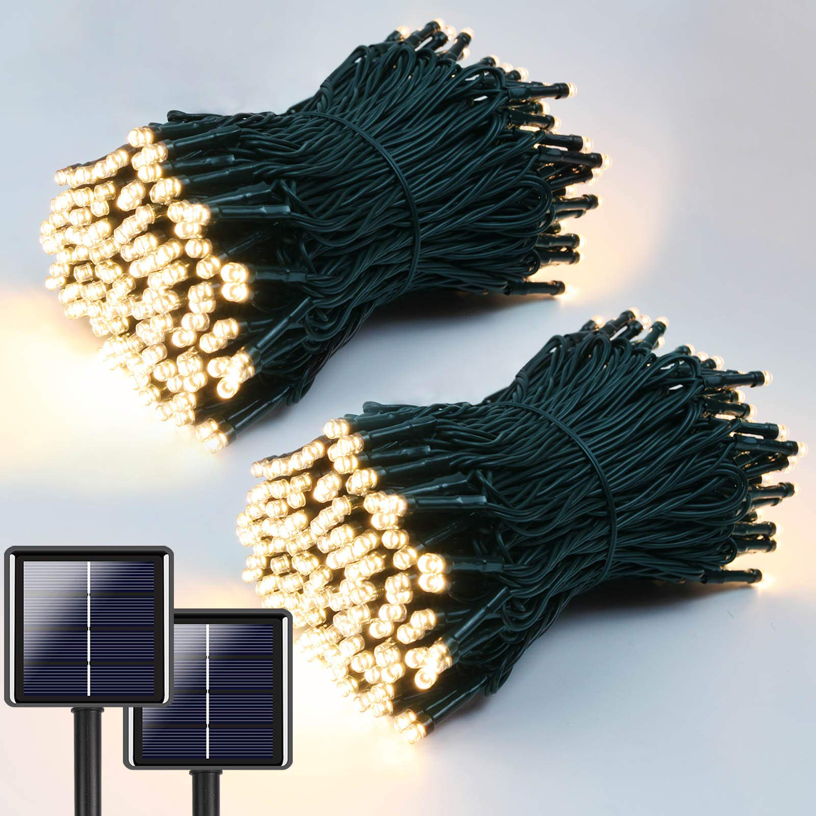 2-Pack Each 72ft 200 LED Solar String Lights Outdoor (Upgraded Ultra-Bright & Extra-Long Green Wire), Waterproof Solar Lights Outdoor Decorative, 8 Modes Solar Fairy Lights (Warm White)