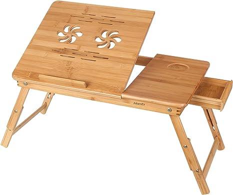 Homfa Bambus Laptoptisch Fürs Bett Sofa Höhenverstellbar Faltbar Lepdesks Laptopständer
