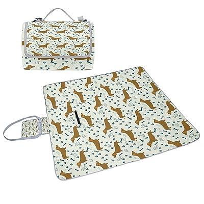 COOSUN Chien teckels Couverture de pique-nique Sac pratique Tapis résistant aux moisissures et étanche Tapis de camping pour les pique-niques, les plages, randonnée, Voyage, Rving et sorties