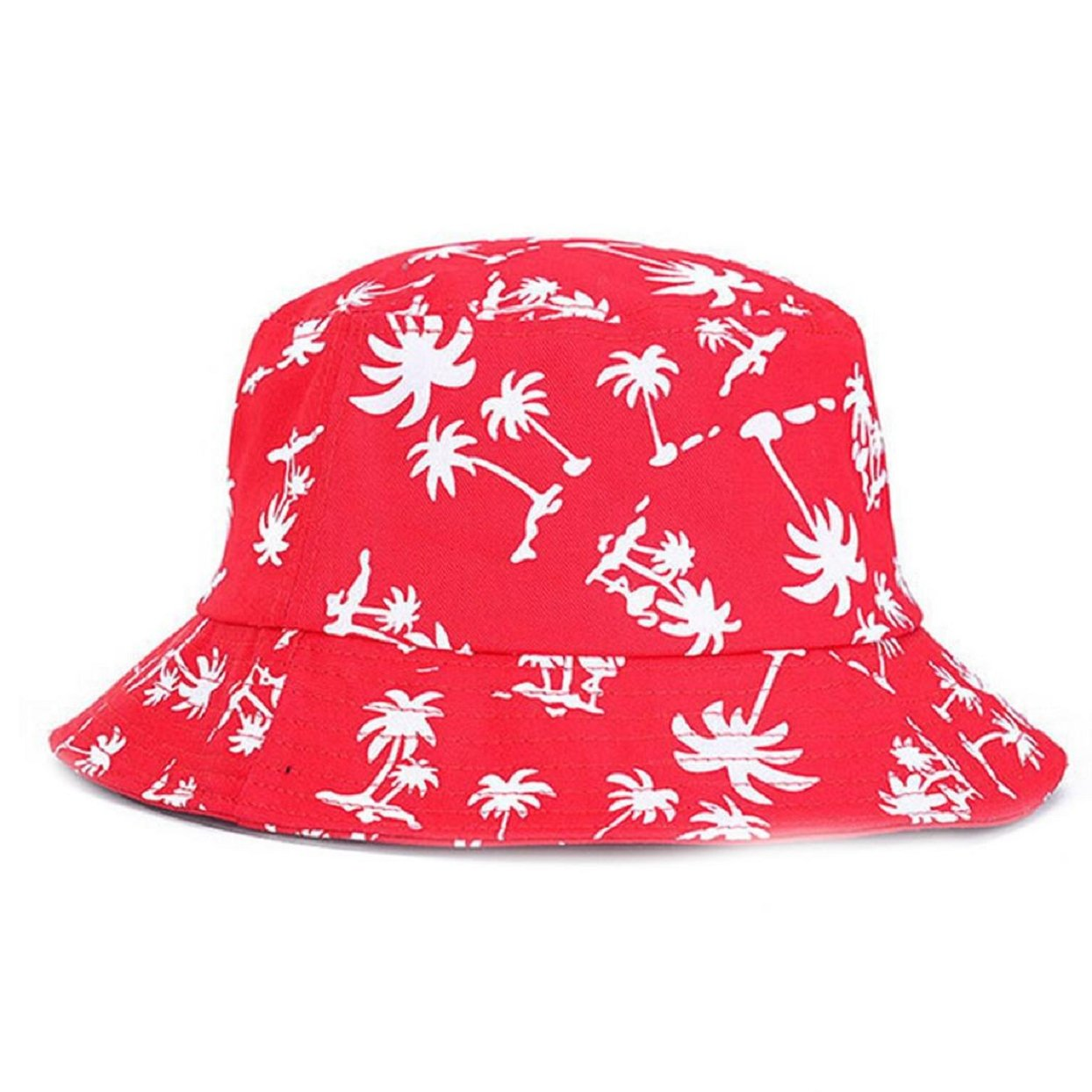 TONSEE Fashion Graffiti Flat Bucket Hat with Coconut Tree Pattern Outdoor Hat TONSEE_A2415