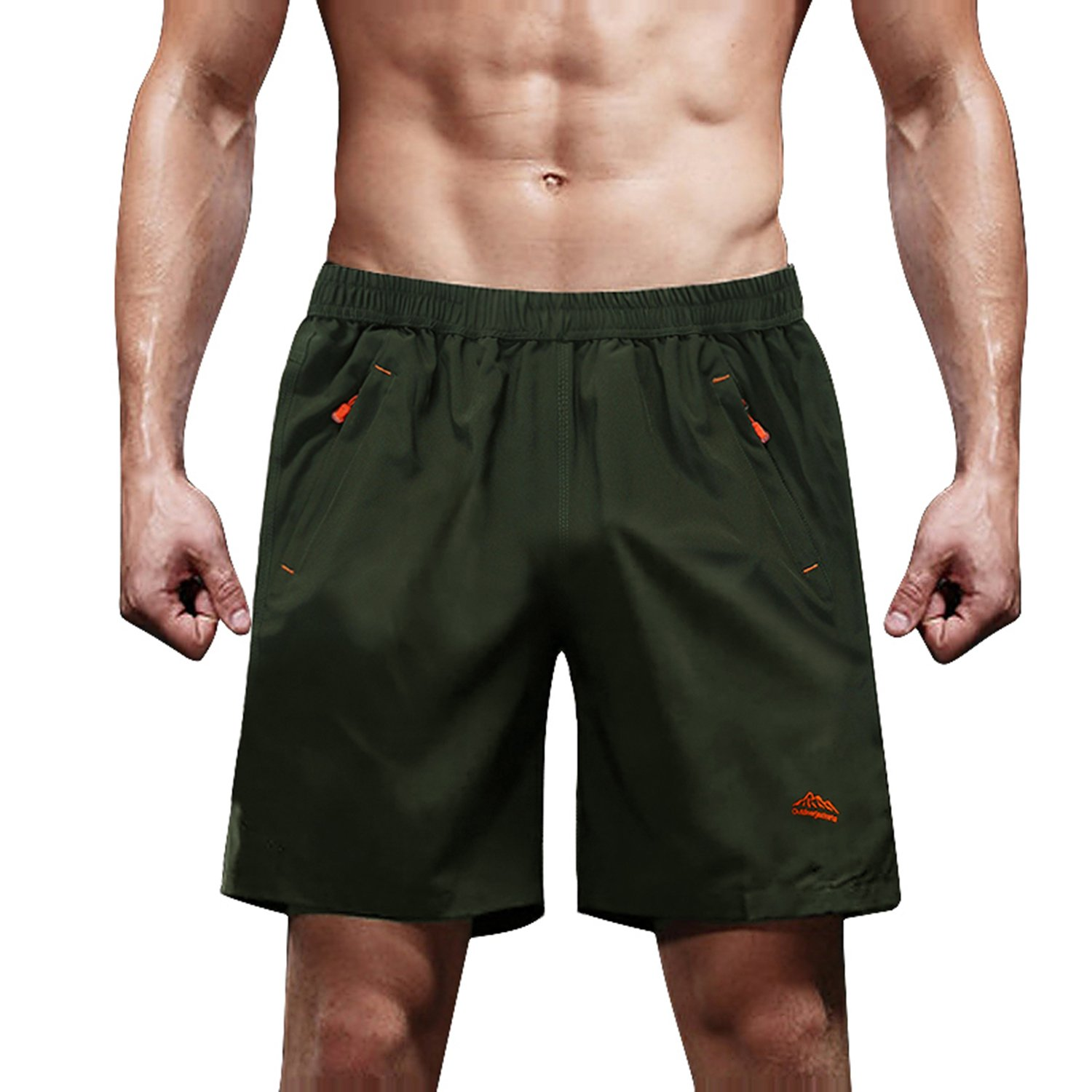 MAGCOMSEN Hiking Pants Men Quick Dry Shorts for Men Running Shorts 5 Inch Workout Shorts Mountain Shorts with Zip Pockets Green
