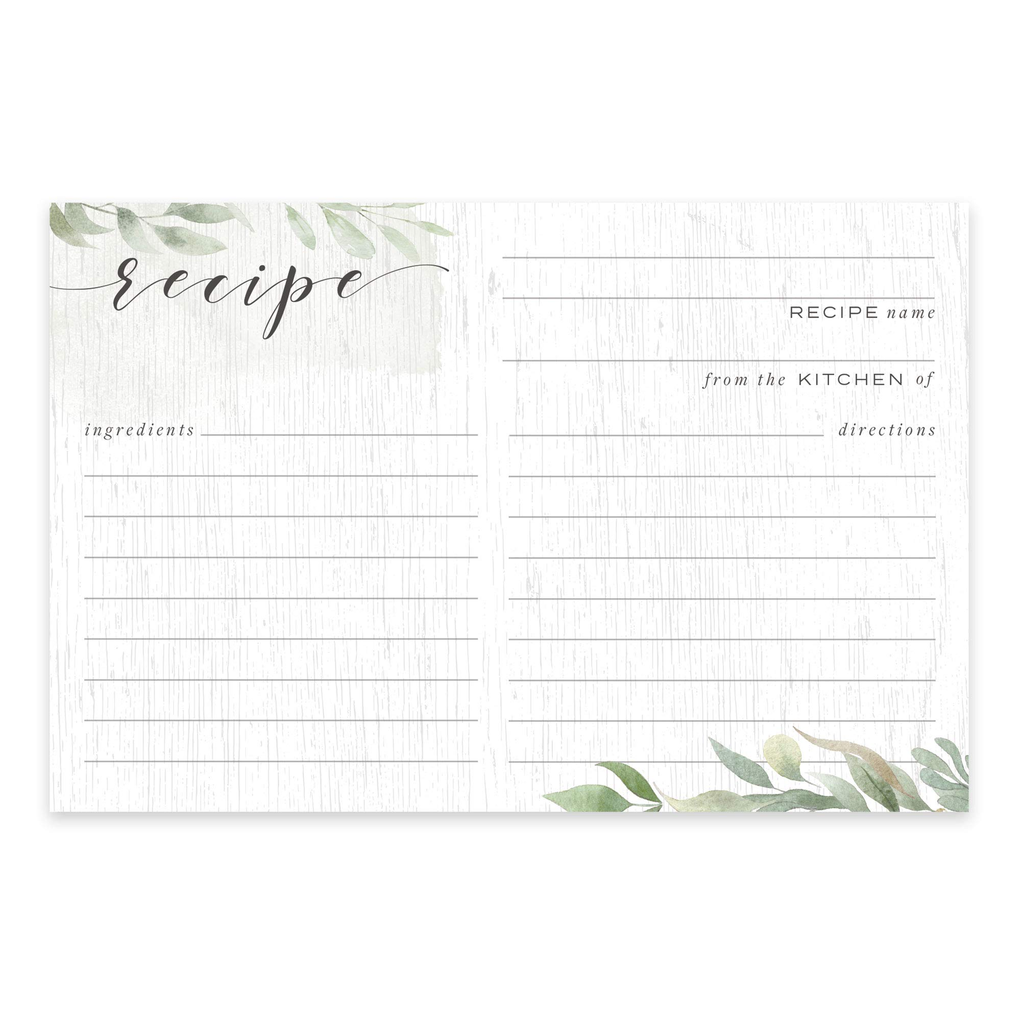 Farmhouse Greenery Recipe Cards from Dashleigh, 48 Cards, 4x6 inches, Sage Green and White, Water-Resistant and Double-Sided (Farmhouse Recipe Cards) by Dashleigh