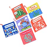 FunsLane Cloth Books for Babies Soft Non-toxic Fabric Baby First Book Activity Crinkle Book for Infants Toddler Squeak Rattle Early Education Toys For Boy and Girl Baby Shower Gift, Pack of 6