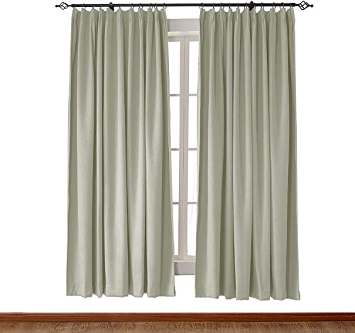 ChadMade Extra Wide Heavyweight Luxury Faux Linen Curtain 120 W x 96 L Pinch Pleat Drapery Panel for Traverse Rod Ring Clip or Track 1 Panel Grey Green