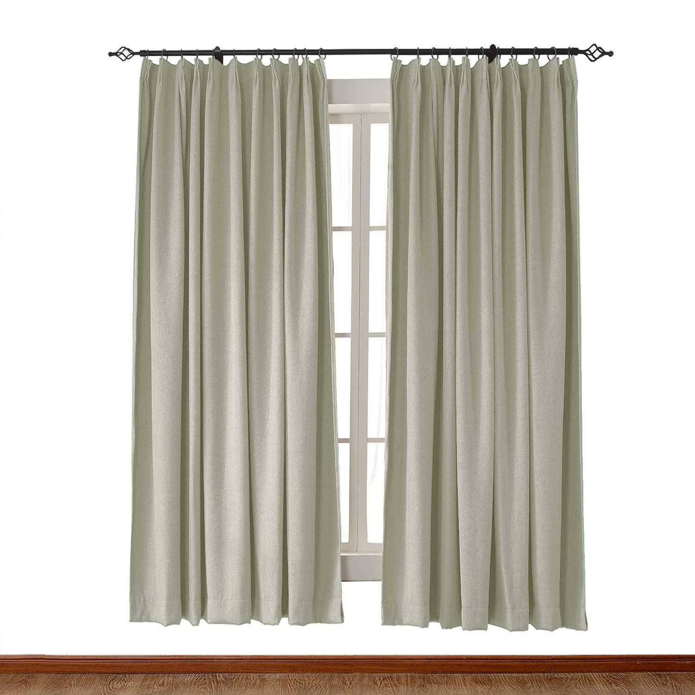ChadMade Pinch Pleat 72W x 84L Inch Heavyweight Luxury Faux Linen Curtain Drape Panel for Bedroom Living Room Study Patio Door Grey Green (1 Panel)