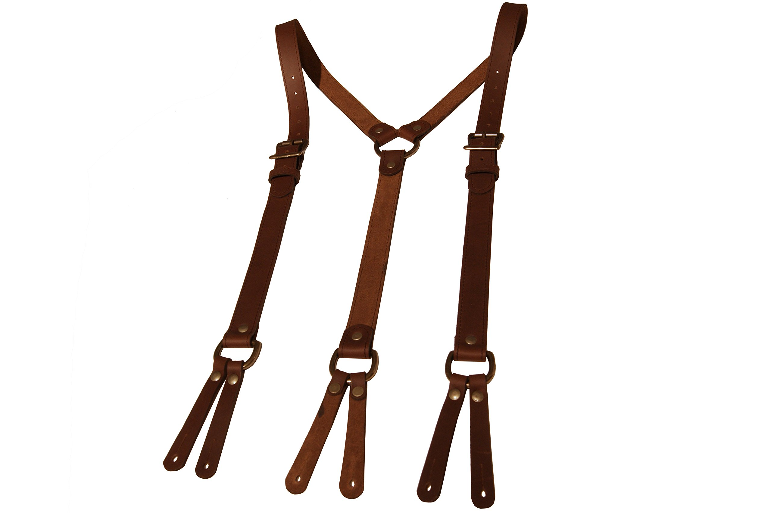 Project Transaction Men's Leather Suspenders M/L Dark Brown/Antique Buttonholes