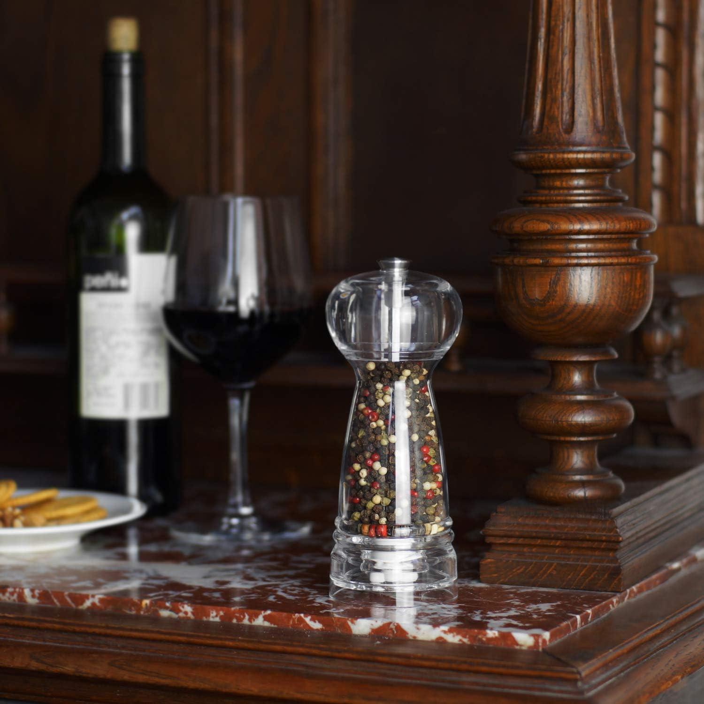 macina pepe Vevouk Macina sale e pepe Set di 2 macina per sale e pepe in Tritan trasparente regolabile in ceramica per sale dellHimalaya facile da ricaricare