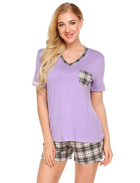 27a8057c2 Kecooi Women's Comfy 2 Piece Pajamas Tee Top and Shorts Loungewear Set(Purple  ...