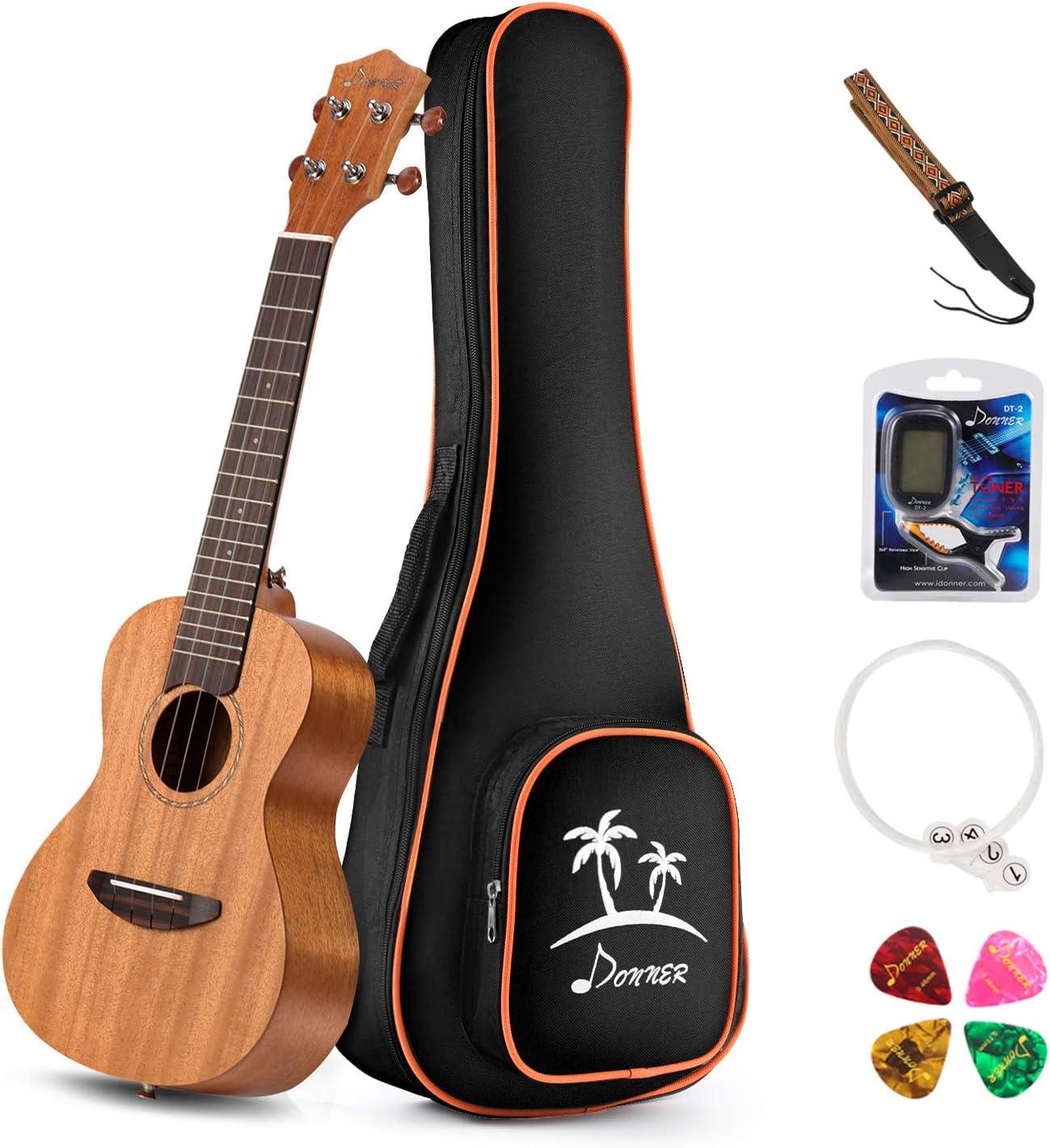 Donner Concert Ukulele 23 Inch Mahogany Ukelele Starter Kit With Gig Bag Strap Nylon String Tuner Picks DUC-1