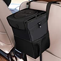 Car Trash Cans with Lid, Multipurpose Garbage Bag and 3 Storage Pockets, Portable Accessories/Toy/Car Organizer, 100% Waterproof Leak-Proof for Truck, Minivan & Vehicle