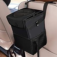 علب قمامة للسيارة مع غطاء، حقيبة قمامة متعددة الأغراض و3 جيوب تخزين، ملحقات محمولة/لعبة/سيارة، مقاومة للماء بنسبة 100…