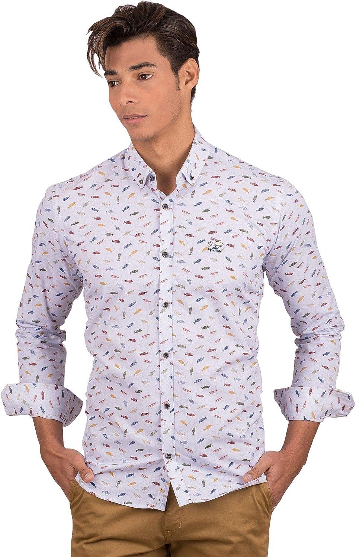 La Vespita Camisa con Estampado de Peces y Logo Vespa: Amazon.es: Ropa y accesorios