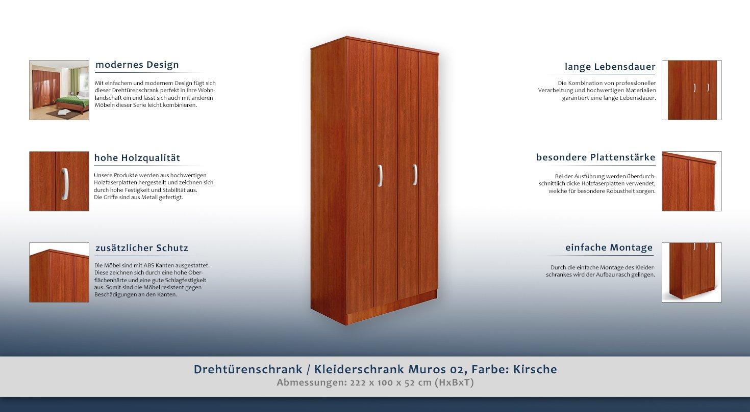 Drehtürenschrank/Kleiderschrank Muros 02, Farbe: Kirsche - 222 x 100 ...