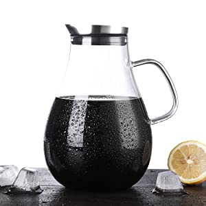 ONEISALL 85 Ounces Glass Pitcher - Large Hot & Cold Wine Coffee Milk Water Jug with Lid, Perfect for Stovetop & Refrigerator