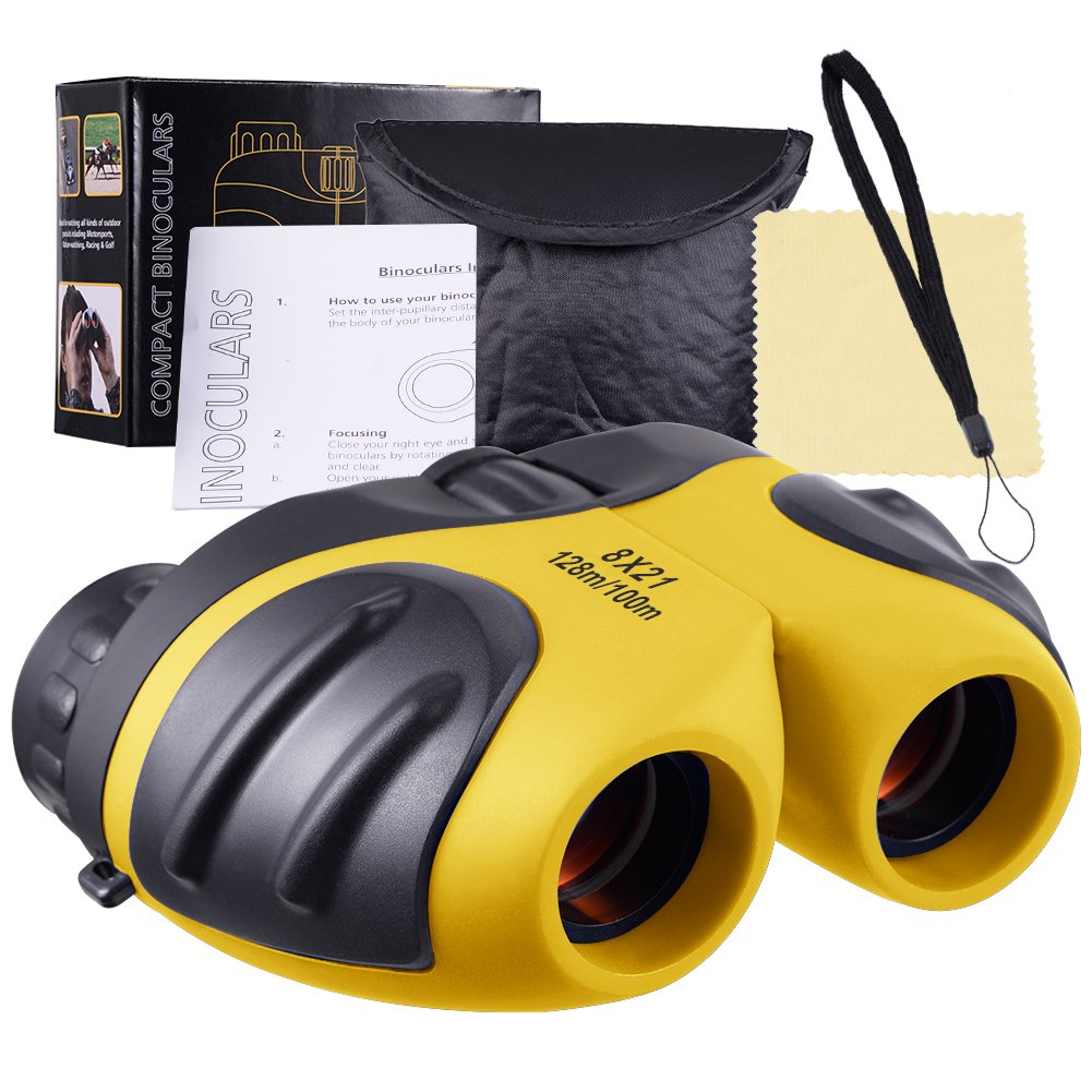 AGALORY Binoculars for Kids, 8x21 Compact Kid Binoculars Toys for 3-12 Year Old Boys and Girls Best Gift for 5-8 Year Old Kids (Yellow)
