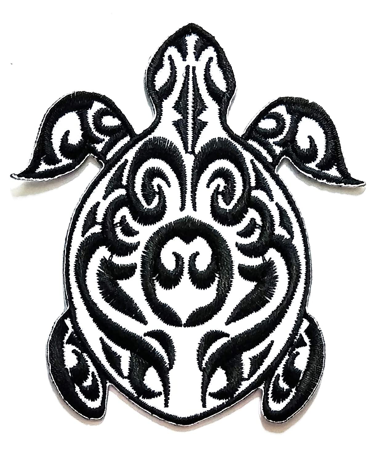 Nipitshop Patches White Black Beautiful Fantasy Turtle sea Animal Cartoon Kids Patch Embroidered Iron On Patch for Clothes Backpacks T-Shirt Jeans Skirt Vests Scarf Hat Bag