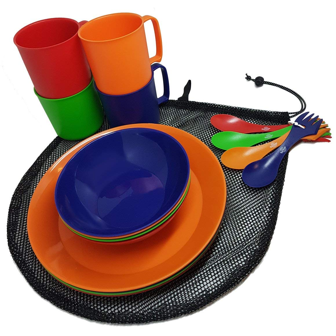 Camping Mess Kit 4 Person Dinnerware Set with Mesh Bag - Complete Dish Set Includes Plates, Bowls, Cups and Sporks - Perfect for Backpacking, Hiking, Picnic and Much More by Barbeqa