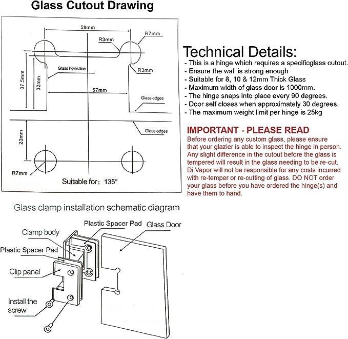 Di Vapor (R) 135 Degree cristal de vidrio Bisagra para puerta de ducha | cromado | Taper: Amazon.es: Bricolaje y herramientas