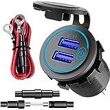 12 V toma USB, carga rápida 3.0 cargador de coche enchufe 12 V/24 V 36 W motocicleta doble USB con cable 10 A fusible imperme