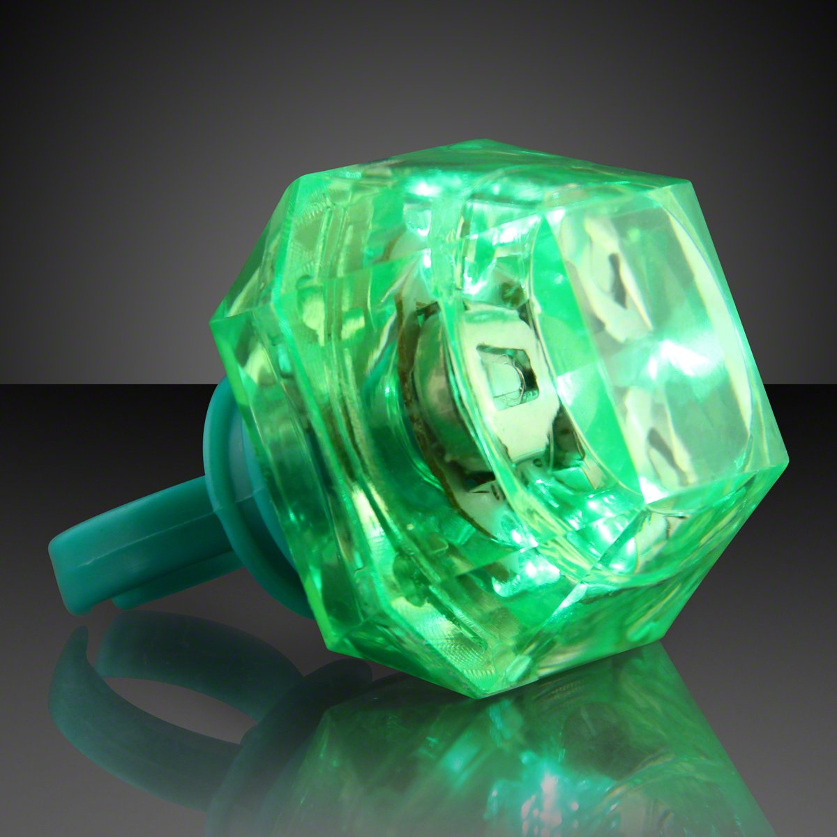 FlashingBlinkyLights Green Huge Gem Light Up LED Rings (Set of 3)