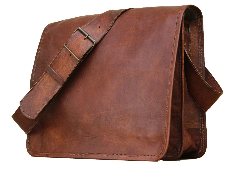 Prastara Leather Full Flap Messenger Handmade Bag Laptop Bag Satchel Bag Padded Messenger Bag School Bag 15X11X4 Inches Brown Christmas gifts