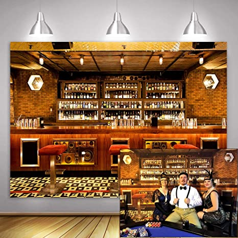 9x6ft Luxury Bar Photo Backdrop Alcohol Wine Bottles Eatery Cafes Drink Urban Club Interior Modern Tavern Counter Photography Background Vinyl Photo Studio Props