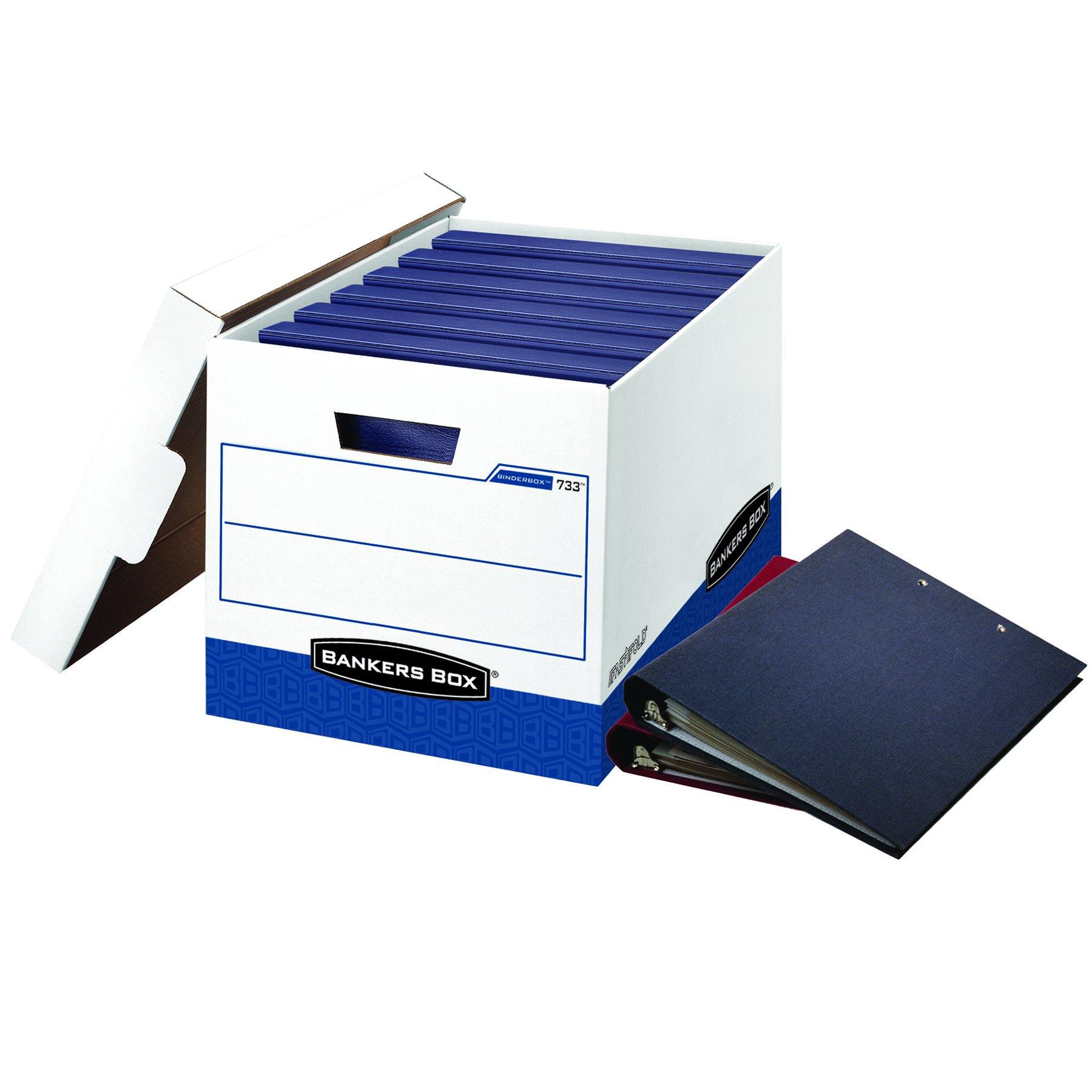 Bankers Box 0073301 BINDERBOX Storage Box, Locking Lid, 12 1/4 x 18 1/2 x 12, White/Blue (Case of 12)