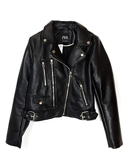 c91356e2 Zara Women's Faux Leather Biker Jacket 3427/252: Amazon.co.uk: Clothing