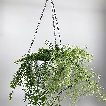 ... 4 cm esfera redonda de resina soporte para plantas con cadena porche decoración maceta colgador jardín decoración contenedor decorativo blanco plástico ...