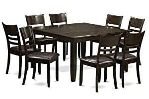East West Furniture 9 Pc Dining room set-Dinette Table with Leaf and 8 Kitchen Chairs, 9-piece, Cappuccino Finish