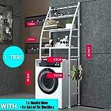 Stainless Steel Shelf Bathroom Space Saver, 3-Tier Toilet Towel Storage Rack Holder Over The Bathroom Toilet Shelf…