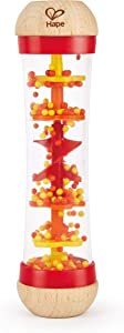 Hape Beaded Raindrops | Mini Wooden Musical Toddler Instrument, Shake & Rattle Rainmaker Toy, Red, L: 2, W: 2, H: 7.9 inch