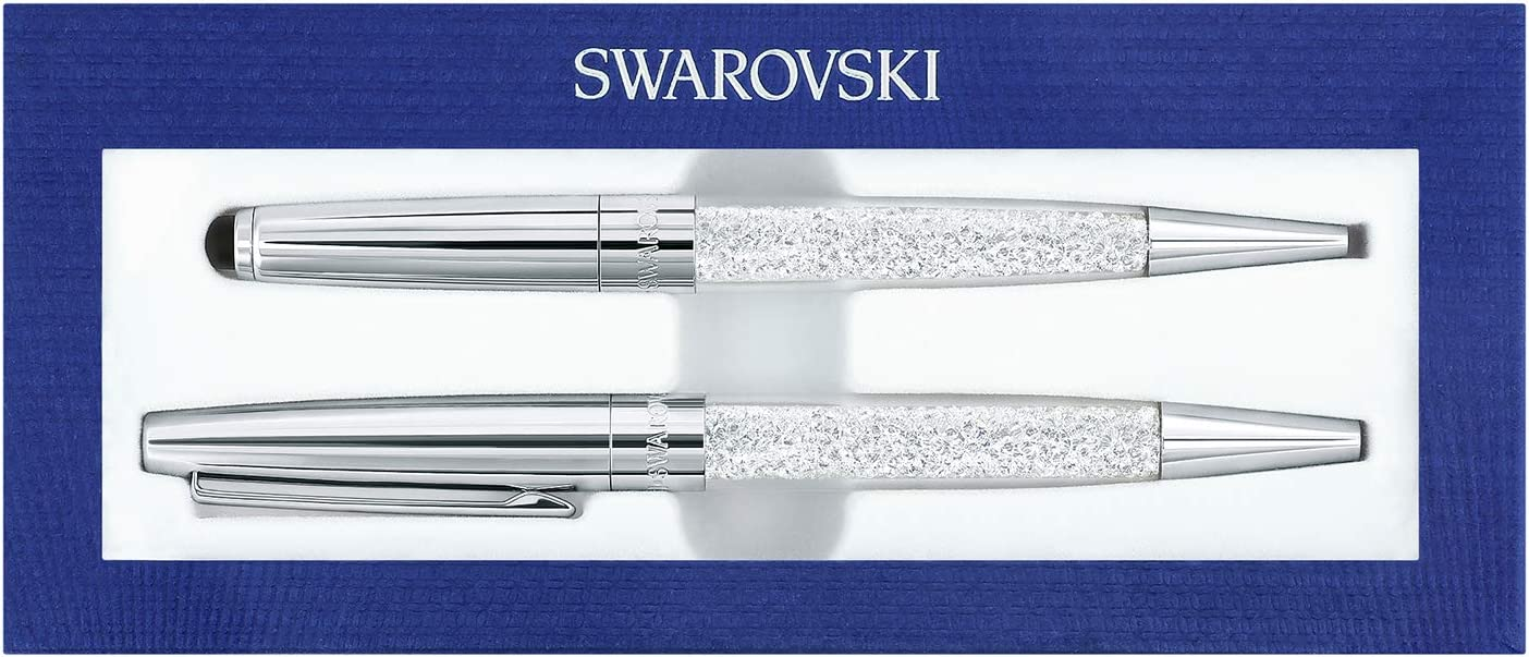Genuine SWAROVSKI Crystalline Stardust Ballpoint Pens If Box with Clear Crystals