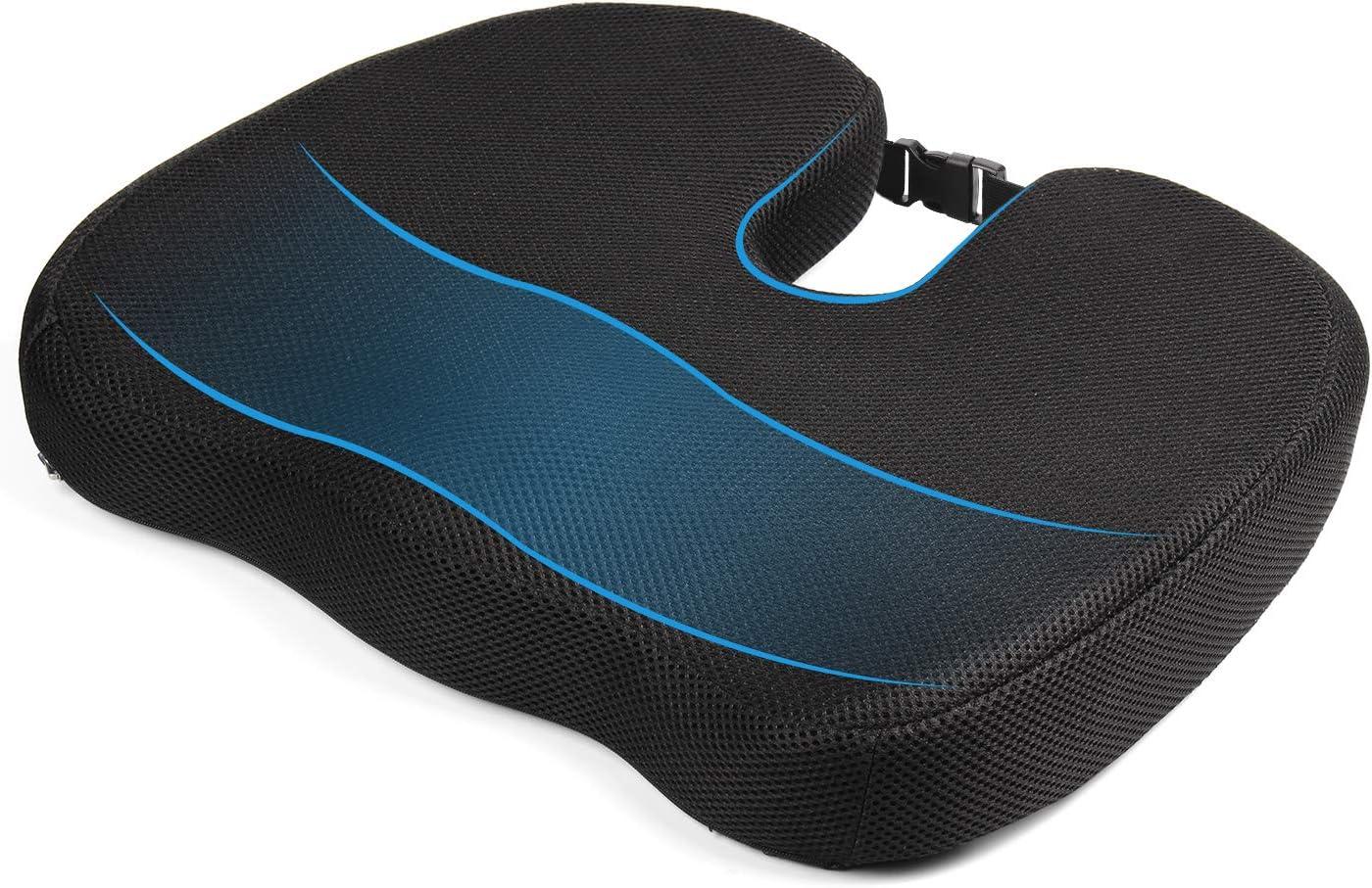 MonTrüe Back Cushion 404558 - Cojin de Espuma con Memoria para Silla ergonomico, ortopedico para Alivio de coxis, Espalda Inferior y ciática, para la Oficina, Silla de Ruedas o Viajes, Neg