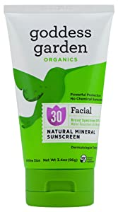 Goddess Garden - Facial SPF 30 Mineral Sunscreen Lotion - Sensitive Skin, Reef Safe, Sheer Zinc, Water Resistant, Vegan, Leaping Bunny Certified Cruelty-Free, Non-Nano - Travel Size 3.4 oz Tube