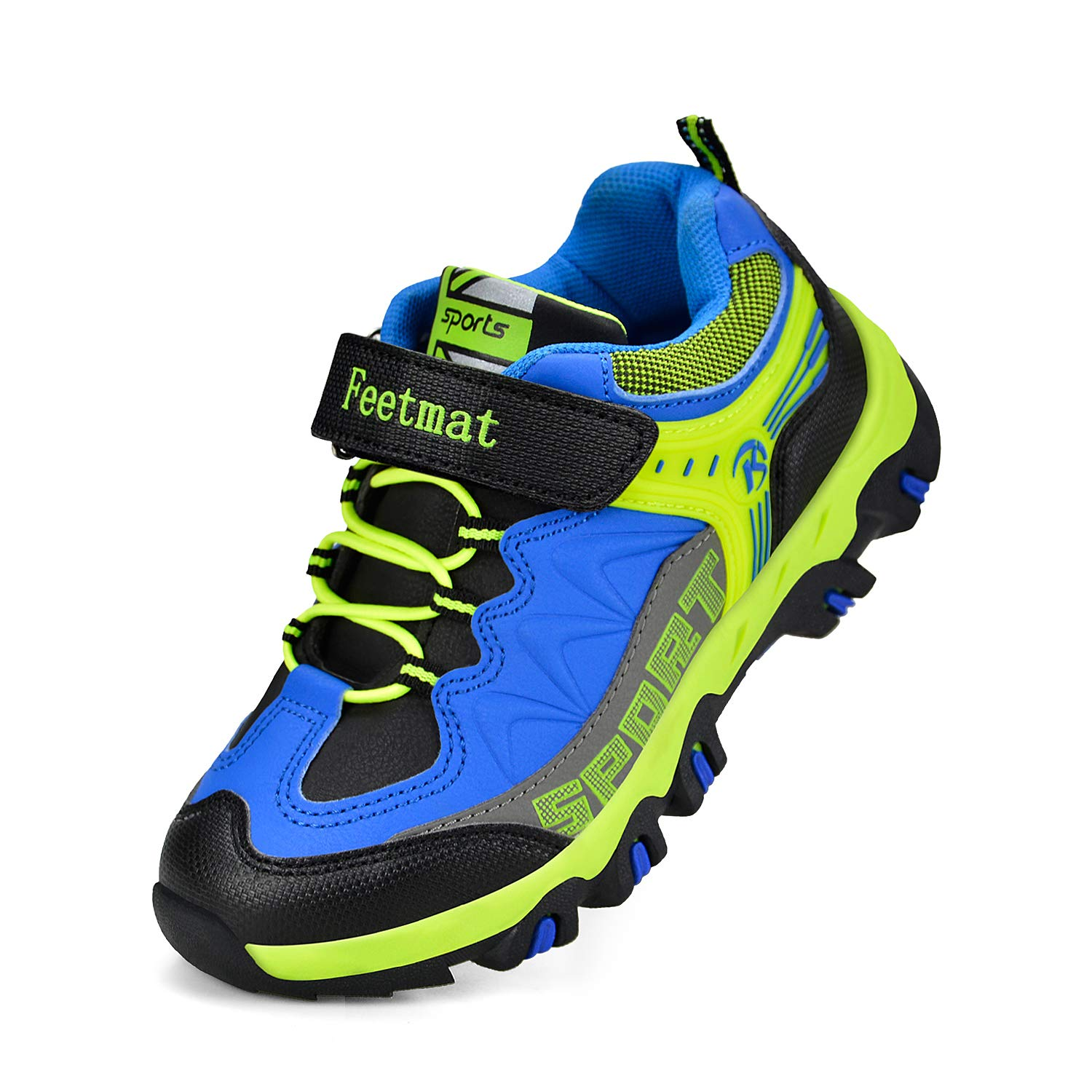 QANSI Boys Shoes Waterproof Little Kids Strap Tennis Shoes Athletic Trail Running Hiking Shoes Black//Blue 12.5