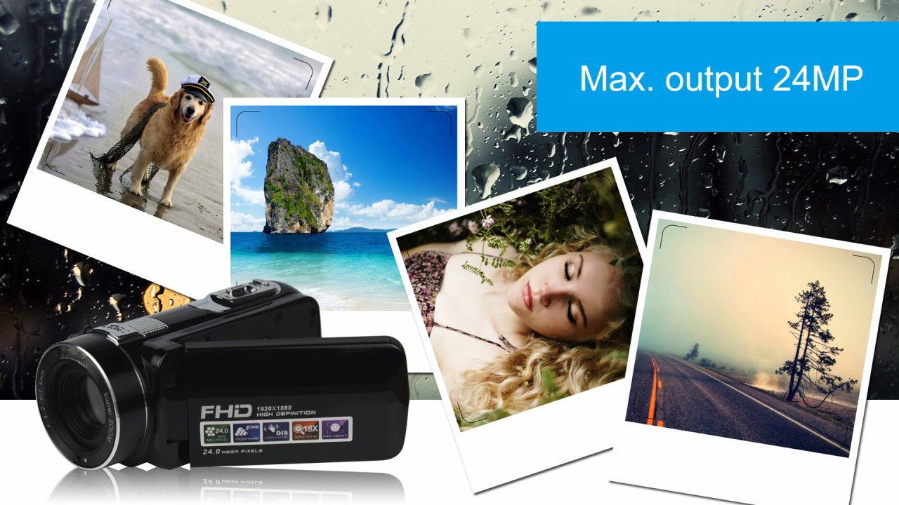 SEREE HDV-M6 Full HD 1080P Beauty Face Max. 24MP DIS Face Detection Elegant Appearance Self Timer Camcorder FHD Video Camera (HDV-M6) by SEREE (Image #5)