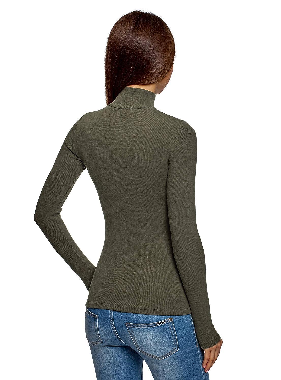 oodji Ultra Donna Maglia in Cotone con Zip sul Collo Alto