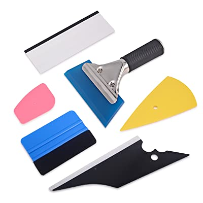 WINJUN 6 in 1 Auto Window Tinting Kits Vinyl Wraps Tool with Felt Edge Squeegee Water Blade Windshield Wiper Plastic Glass Scraper: Automotive