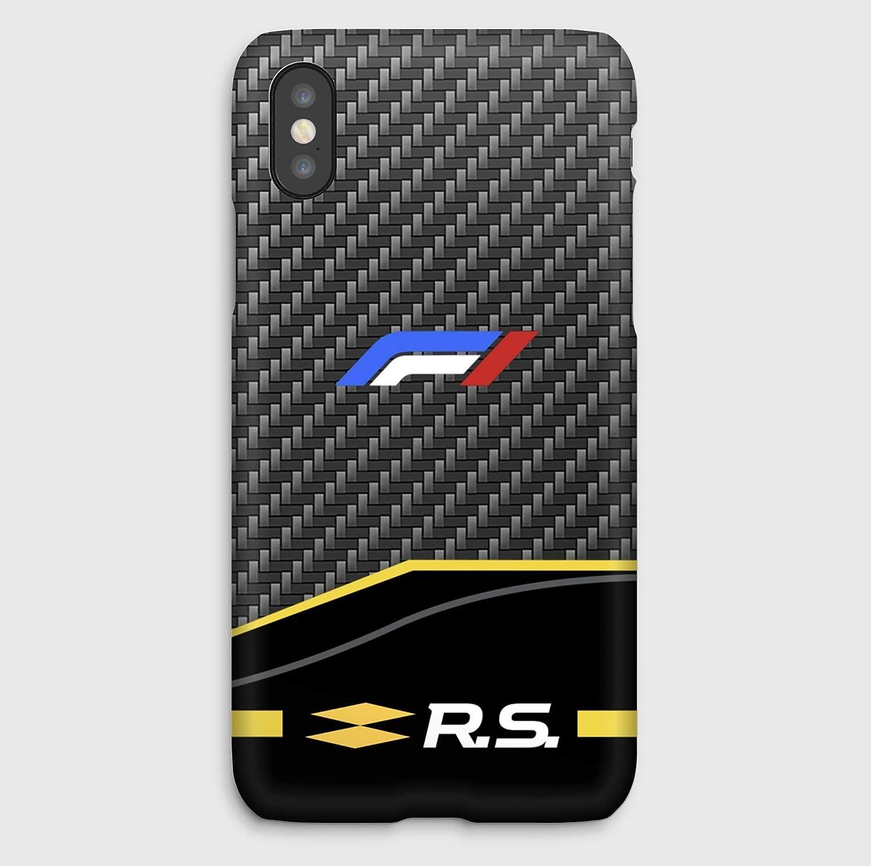 F1 carbon Renault, coque pour iPhone XS, XS Max, XR, X, 8, 8+, 7, 7+, 6S, 6, 6S+, 6+, 5C, 5, 5S, 5SE, 4S, 4,