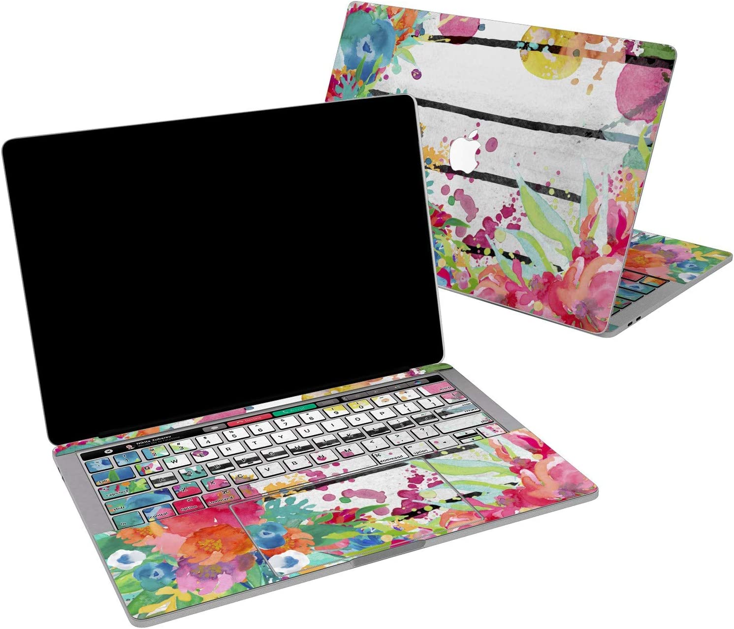 Lex Altern Vinyl Skin for MacBook Air 13 inch Mac Pro 16 15 Retina 12 11 2020 2019 2018 2017 Watercolor Floral Painting Abstract Nature Modern Girl Laptop Trackpad Cover Keyboard Decal Sticker Top