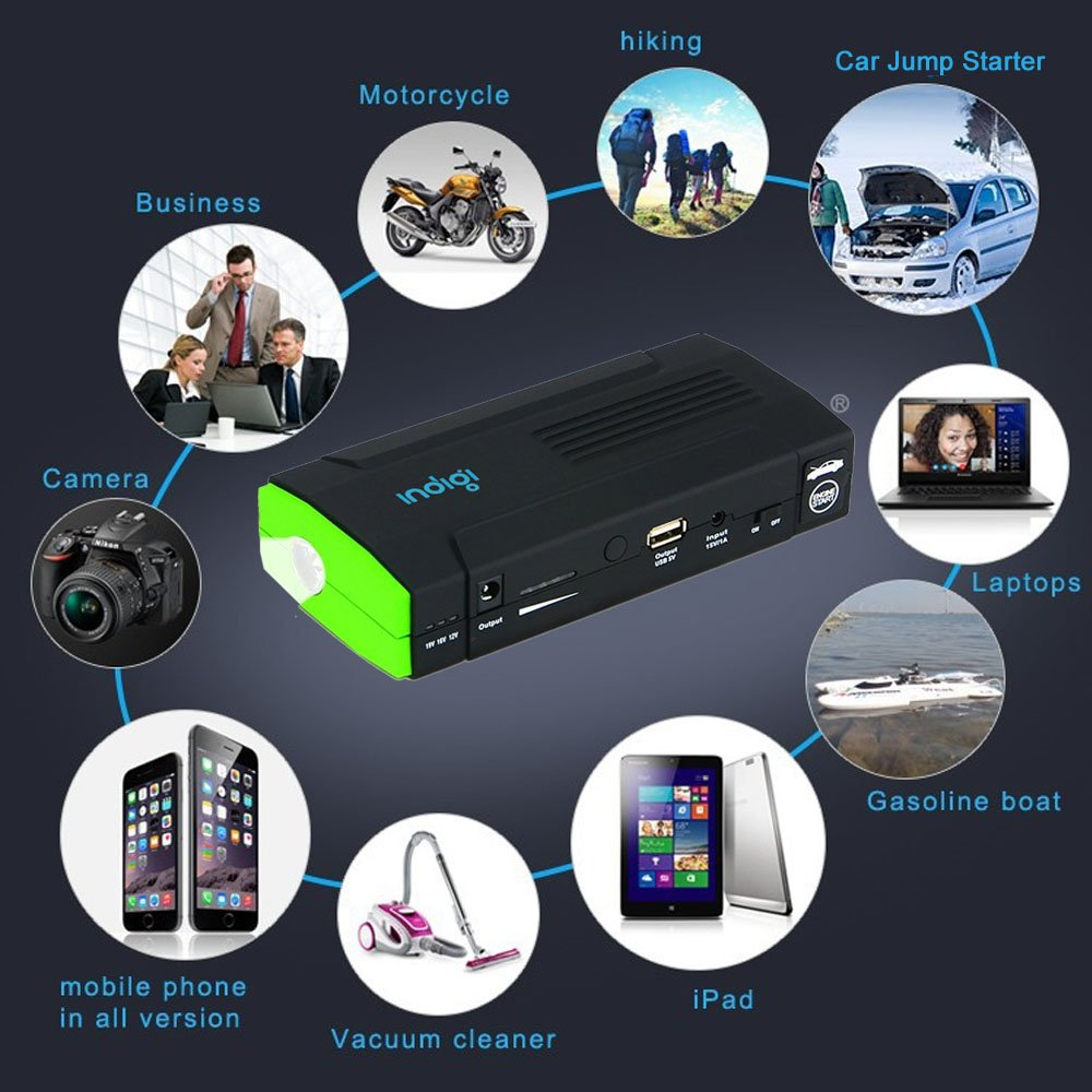 Amazon.com: Indigi 12800mAh USB Multi-Functional Mobile Rechargeable 12V Car Jump Starter Power Bank Emergency Kit: Automotive