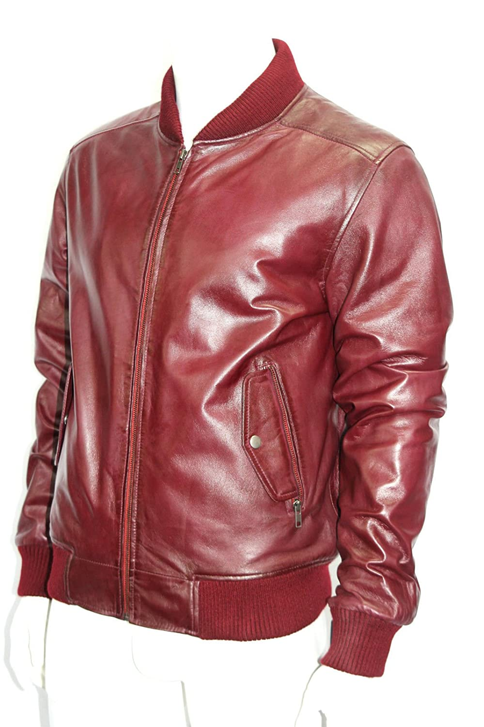 Man 1290 Cherry Red Bomber Style Real Soft Nappa Leather Jackets