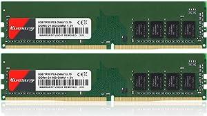 KUESUNY 16GB (2x8GB) DDR4 2666MHz DIMM PC4-21300 UDIMM 1Rx8 1.2V CL19 288-Pin Desktop Computer Memory RAM Upgrade Kit