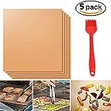 """DELIPOP Stuoie grigliata 16""""X13"""" antiaderenti resistente al calore non tossico con spazzola barbecue griglie Set Pack di 5 (Ramato)"""