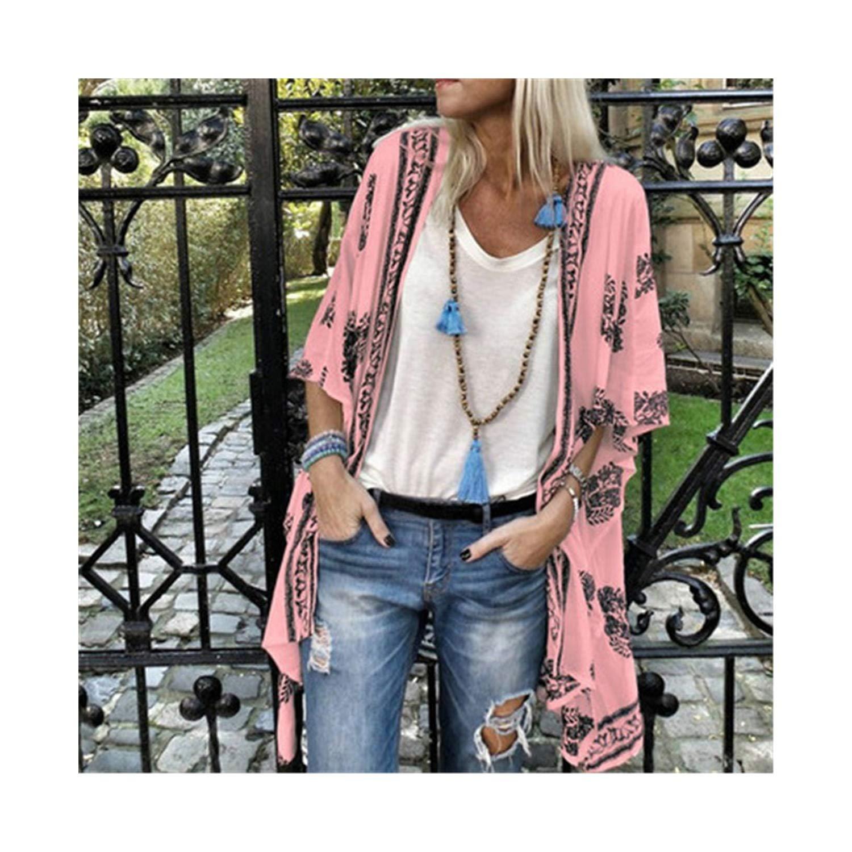 2019 New Women Floral Long Shirt Coat Summer Women Flower Printing Half Sleeve Fashion Streetwear