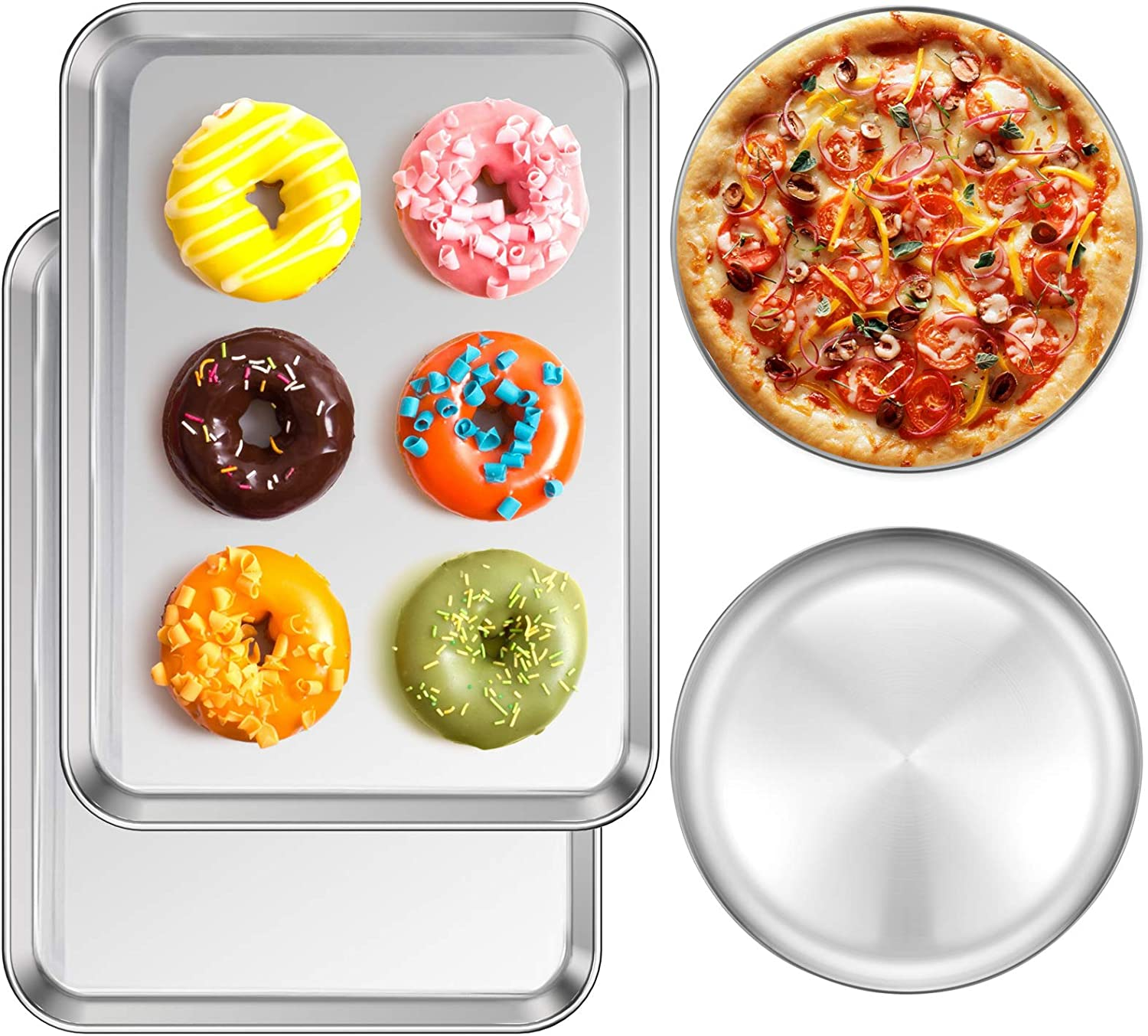 Baking Sheet Pizza Baking Pan Set of 4, Deedro Stainless Steel Cookie Sheet 16 x 12 x 1 inch, Round Pizza Tray 10 inch, Non Toxic & Healthy Oven Tray Bakeware for Commercial or Home Use