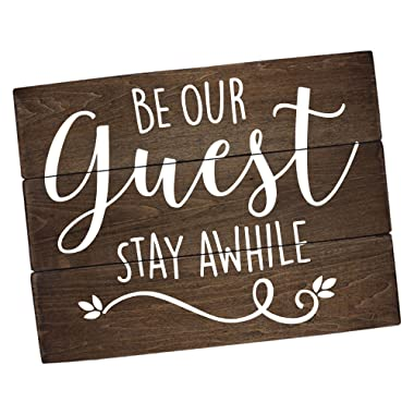 Elegant Signs Guest Room Decor Rustic Farmhouse - Be our guest, Stay Awhile Wall Art (11 x 14)